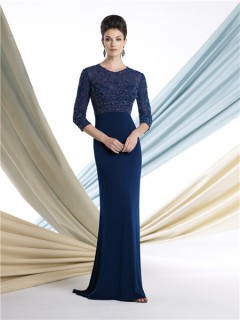 Modest Sheath Navy Blue Chiffon Beaded Sleeves Mother Of The Bride Evening Dress