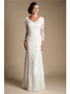 Modest Sheath Sweetheart Long Sleeve Lace Wedding Dress With Buttons