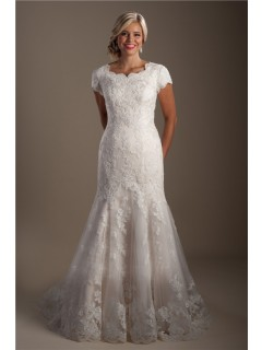 Modest Trumpet Mermaid Scalloped Neck Lace Wedding Dress With Short Sleeves