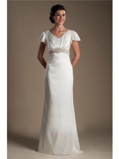 Modest V Neck Flared Cap Sleeve Satin Beaded Wedding Dress With Ons