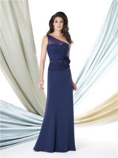 One Shoulder Navy Blue Lace Chiffon Mother Of The Bride Occasion Dress Belt Flower