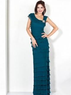Perfect Sheath Long Teal Tiered Chiffon Women Evening Wear Dress