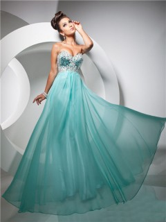 Pretty A Line Princess Sweetheart Long Turquoise Chiffon Prom Dress With Beading Sequins