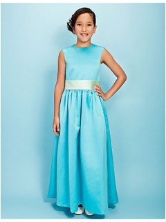 Pretty A line Long Blue Satin Junior Bridesmaid Dress With Sash