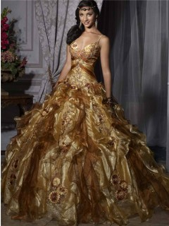 Pretty Ball Gown Gold Organza Quinceanera Dress With Beading Flowers