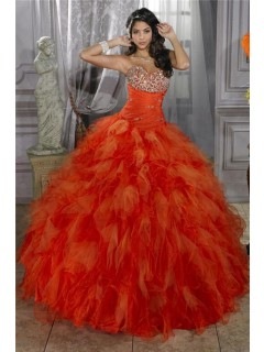 Pretty Ball Gown Orange Organza Quinceanera Dress With Beading Ruffles