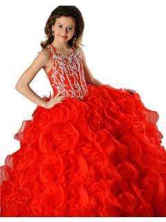 Pretty Halter Red Orange Organza Ruffle Crystal Beaded Girls Pageant Party Prom Dress