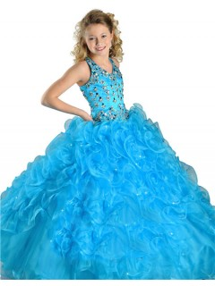 Pretty Halter Turquoise Blue Organza Ruffle Crystal Beaded Girls Pageant Party Prom Dress
