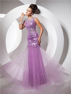 Pretty Sheath Backless Long Purple Lilac Sequined Tulle Prom Dress With Beaded Rhinestones