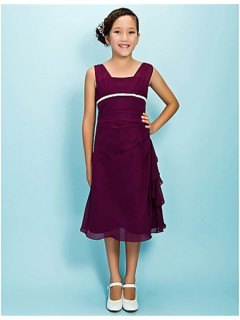 Pretty Sheath Straps Tea Length Long Purple Chiffon Junior Bridesmaid Dress