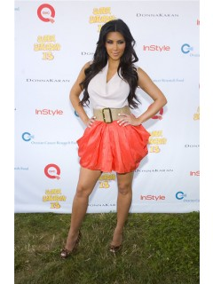 Pretty Short/ Mini Kim Kardashian White Shirt Coral Skirt