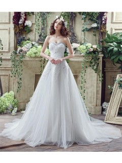 Princess A Line Strapless Corset Back Tulle Lace Crystal Wedding Dress