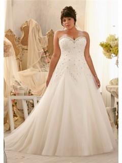 Princess A Line Sweetheart Organza Lace Draped Plus Size Wedding Dress Corset Back