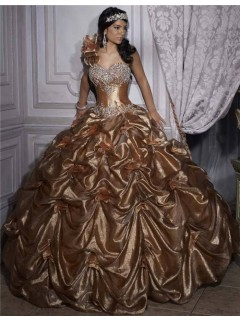 Princess Ball Gown Gold Taffeta Quinceanera Dress With Beading