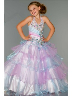 Princess Halter Aqua Pink Organza Tiered Ruffle Beaded Flower Girl Pageant Dress