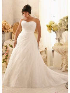 Romantic A Line Sweetheart Lace Tulle Beaded Plus Size Wedding Dress With Pearls