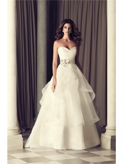 Romantic A Line Sweetheart Organza Ruffle Wedding Dress With Flower Sash