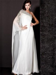 Royal Unique Sheath One Shoulder Long White Chiffon Beaded Evening Wear Dress