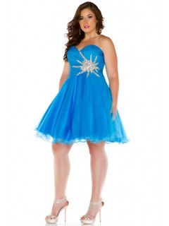 Sexy A Line Sweetheart Short Blue Tulle Beaded Plus Size Party Prom Dress