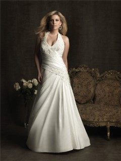 Sexy A line halter chapel train taffeta plus size wedding dress with applique