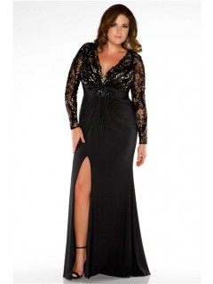 Sexy Cut Out Back Long Black Jersey Lace Plus Size Evening Prom Dress With Sleeves