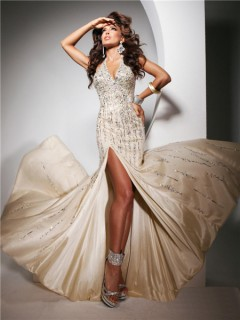 Sexy Halter Backless Long Light Champagne Evening Prom Dress With Beading