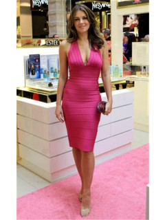 Sexy Halter Deep V Neck Short Pink Bandage Bodycon Evening Party Dress