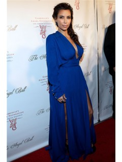 Sexy Long Royal Blue Chiffon Kim Kardashian Red Carpet Celebrity Dress