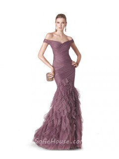 Sexy Mermaid Off The Shoulder Dusty Rose Tulle Ruffle Evening Dress