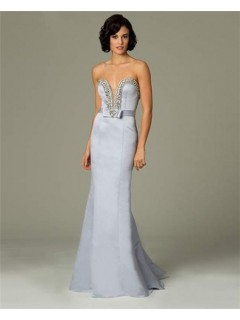 Sexy Mermaid Plunging Long Dusty Blue Satin Beaded Evening Dress With Bow Sash