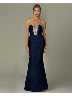 Sexy Mermaid Strapless Plunging Neckline Navy Blue Chiffon Beaded Evening Dress