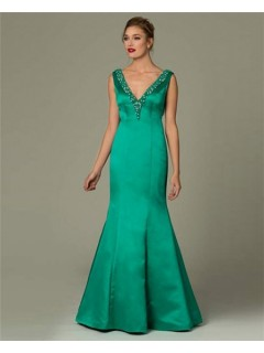 Sexy Mermaid V Neck Backless Emerald Green Satin Beaded Occasion Evening Dress