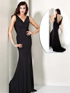 Sexy Mermaid V Neck Long Black Chiffon Evening Wear Dress Backless