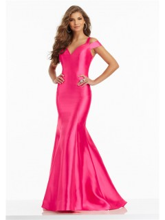 Sexy Off The Shoulder Open Back Hot Pink Satin Ruffle Prom Dress With Buttons