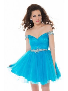 Sexy Off The Shoulder Short Turquoise Blue Tulle Beaded Homecoming Prom Dress
