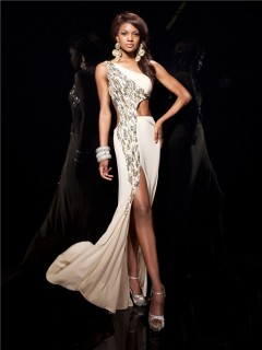Sexy One Shoulder Backless Long Champagne Chiffon Prom Dress Cut Out With Beading Slit