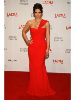 Sexy One Shoulder Long Kim Kardashian Red Dress Lacma