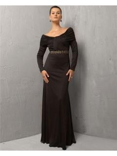 Sexy Sheath Off The Shoulder Long Black Chiffon Evening Dress With Long Sleeve