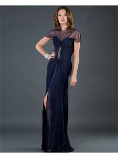 Sexy Sheer Long Navy Blue Chiffon Slit Evening Dress With Sleeves Low Back