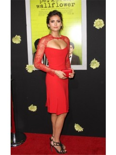 Sexy Short Red Chiffon Lace Nina Dobrev Hollywood Red Carpet Celebrity Dress
