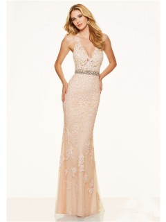 Sexy Slim Deep V Neck Backless Champagne Lace Prom Dress With Belt