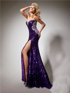 Sexy Sweetheart Long Purple Sequined Beaded Sparkle Prom Dress With Backless Slit