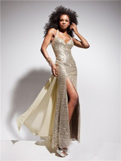 Sexy Sweetheart Straps Backless Long Champagne Sequin Prom Dress With Detachable Train