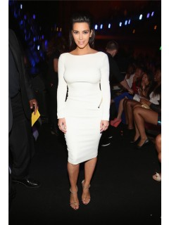 Sexy Tight Backless Short White Stretch Jersey Kim Kardashian Dress With Sleeve
