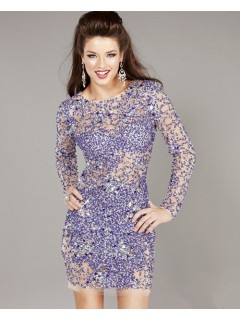 Sexy Tight Sheer Short/Mini Lavender Beaded Party Cocktail Dress With Long Sleeves