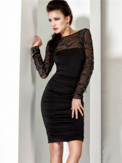 Sexy Tight Short Black Sheer Beaded Cocktail Evening Wear Dress With Long Sleeve