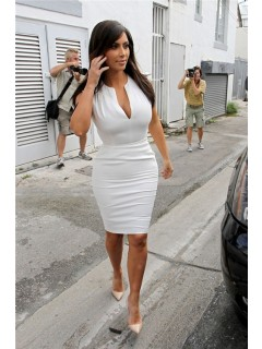Sexy Tight Short White Stretch Jersey kim kardashian Celebrity Dress