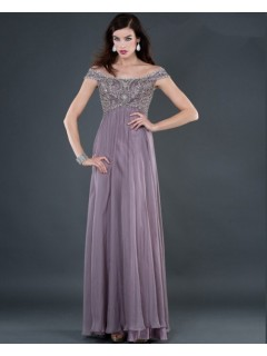 Sexy empire off shoulder long lilac beading chiffon evening dress