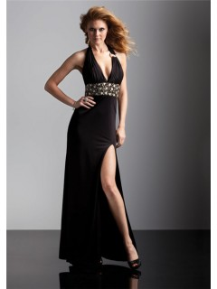 Sexy halter v neck long black chiffon prom dress low back with beading and slit