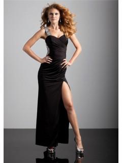 Sexy sheath sweetheart backless long black chiffon prom dress with strap